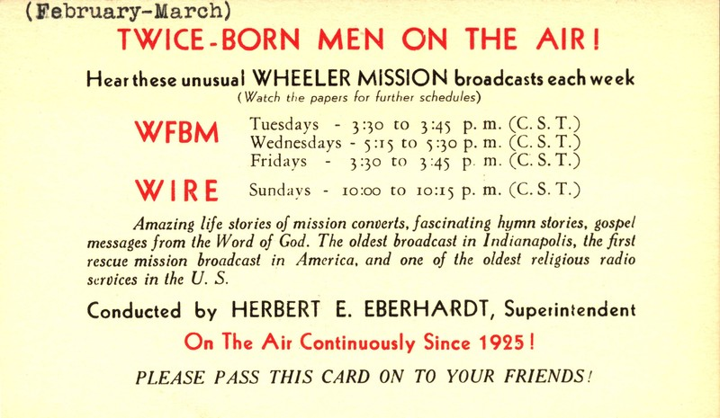 Promo Card for Wheeler Mission's Radio Show · Special